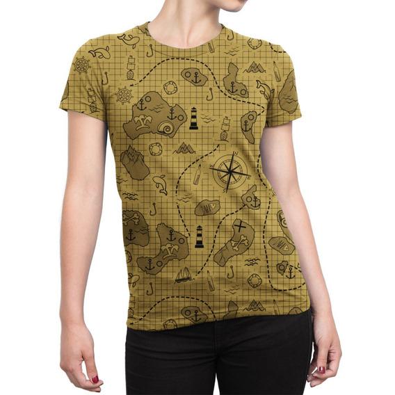 Camiseta Baby Look Feminina Mapa Do Tesouro Estampa Total