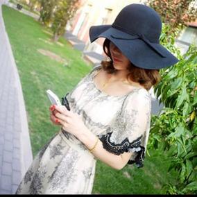Sombrero Pava Fedora En Paño Para Mujer Talla Ajustable