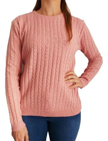 Sweater Pullover Mujer Importado Trenzado Bremer L Xl