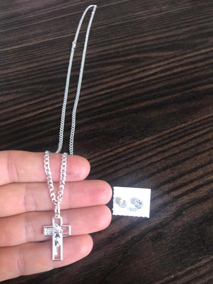 Cordão Fino 65cm Escama Peixe Prata 925 Face Jesus Cristo