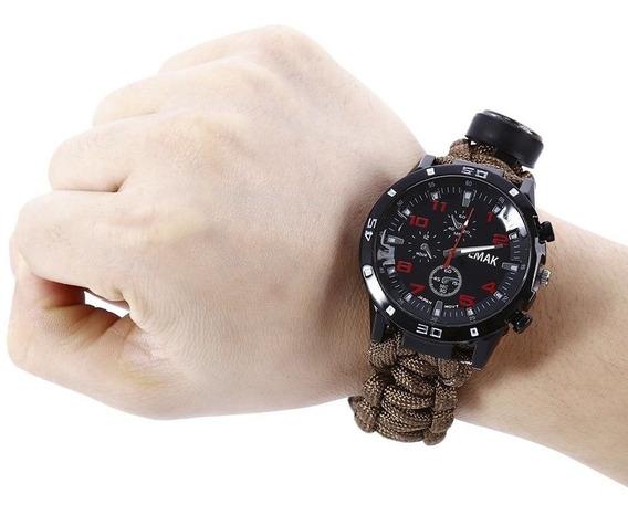 Relógio Airsoft Tatico Fogo Paracord Pederneira Bussola 5x1*