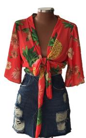 Blusa Kimono Floral Amarrar