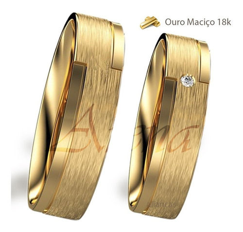 Par Alianças De Ouro 18k 5mm 10 Gramas Noivado E Casamento