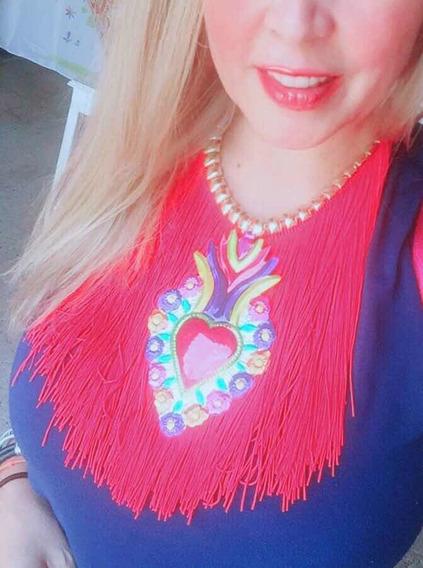 Oaxaqueño Elegante De Corazón Azul Para Escote