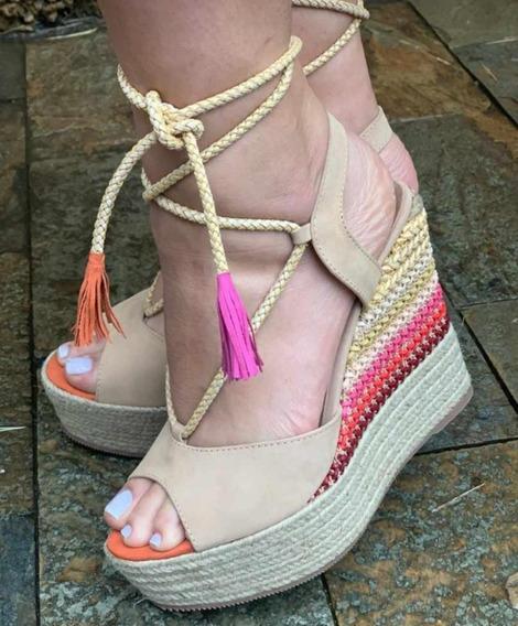 Sandália C/ Detalhe Colorido No Salto Pink Amarração Verão20