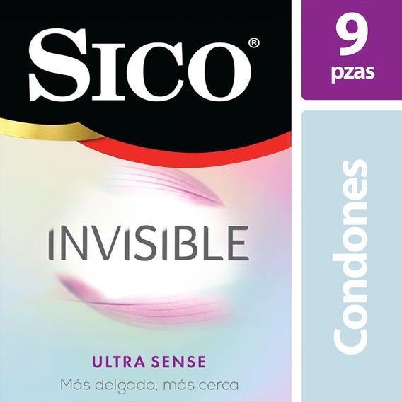 Sico Invisible Ultra Sense, Cartera Con 9 Condones Delgados