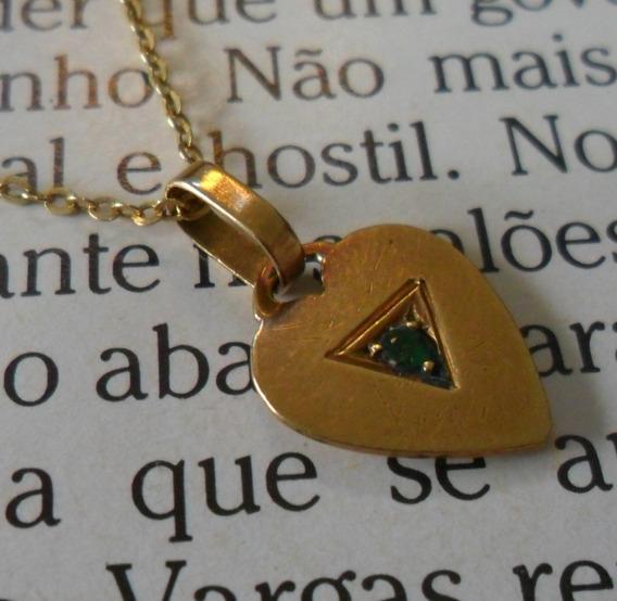 Colar Gargantilha Ouro 18k & Pingente Esmeralda - V E J A!!!