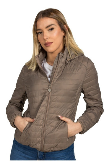 Campera Mujer Ultra Liviana Inflable Capucha Desmontable