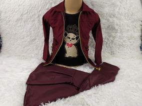 Conjunto Feminino Jarpa Camisa Calça Flear 2 Anos