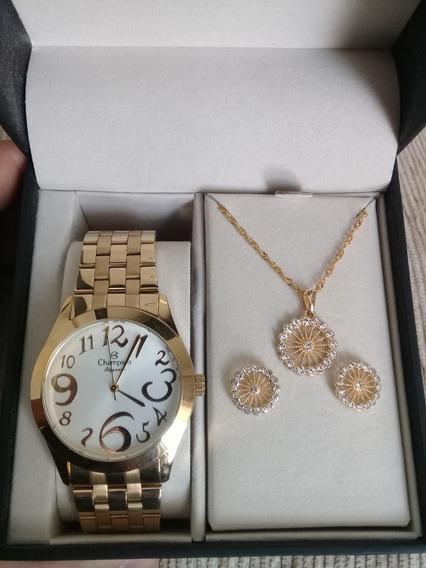 Relógio Feminino Champion Elegance Golden + Brincos + Correntinha + Pingente Na Caixa Original