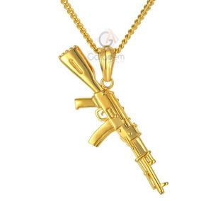 Cordão Banhado Ouro 90cm, Brinde Pulseira Pingente Ak-47