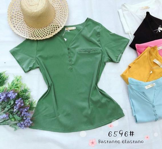 Blusa Feminino T-shirt Algodão Botãos Gola V Liso Verao Moda