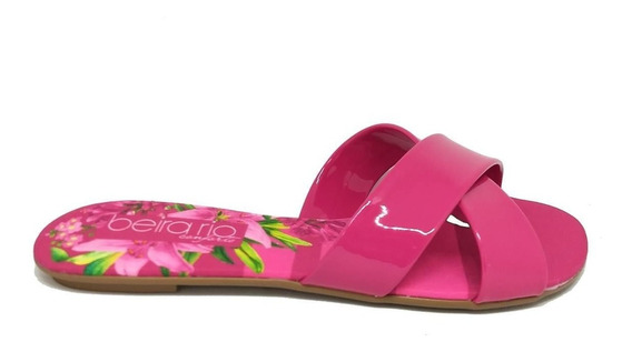 Chinelo Rasteira Beira Rio Floral Tira X - 8237284 Pink