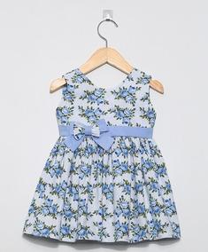 Vestido, Cor Floral Azul - Asas De Anjo