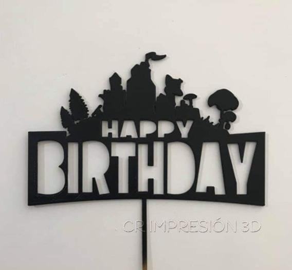 Letrero Para Pastel Happy Birthday Fornite