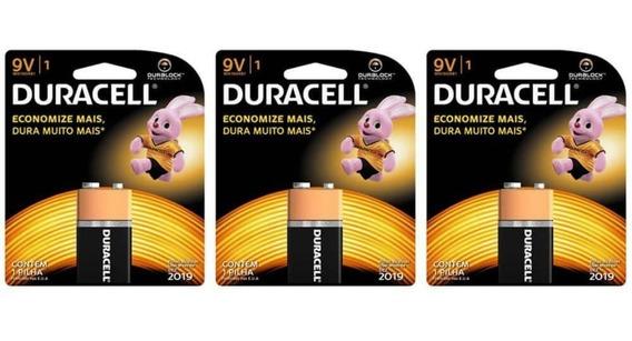 Combo 3 Baterias Duracell 9v Pilha Alcalina Original