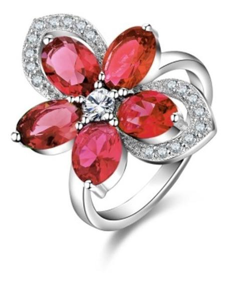 Anillo Promesa Rubí Rojo Flor Zirconia Amour Plata 925