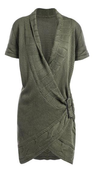 Vestido De Suéter Con Sobrepelliz Con Hebilla Y Cuello Chal