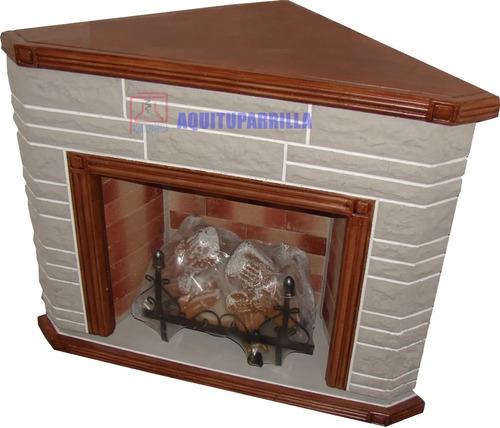 Imagen 1 de 8 de Hogar Esquinero Piedra S/madera C/ Leños Refractarios 5000