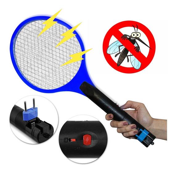 Raquete Mata Mosquito Pernilongo Elétrica Recarregável Azul