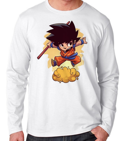 Camiseta Manga Longa Blusa Frio Mini Dragon Ball Z Goku Hero