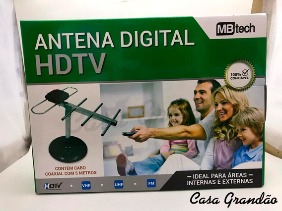 Kit Com 4: Antena Digital Hdtv Com Cabo Coaxial 5m