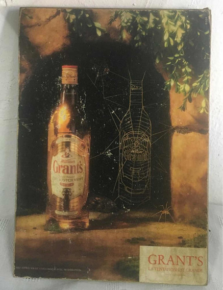 Cuadro Antiguo-publicidad Whisky Grants - Madera -colección