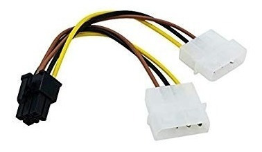 Cable Adaptador 6 Pin A Dual Molex 2 Und Gpu Tarjeta Video