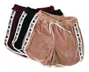 Shorts Casual Veludo Love Shortinho Feminino Moda 2019