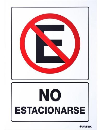 Imagen 1 de 7 de Letrero No Estacionarse Señal Prohibitiva 1 Pieza Surtek