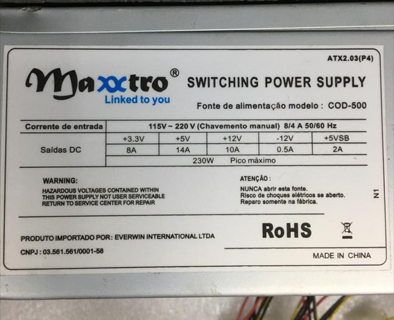 Fonte Maxxtro Model: Cod-500 24pinos Sata Nominal 230w Atx