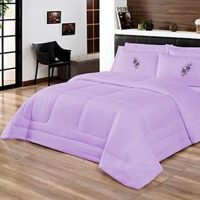 Edredom Confort+lençol Casal Queen 6 Pçs Bordado Cores