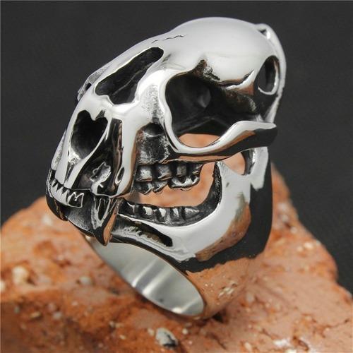 Anel Aço Inox Punk Rock Gótico Metal Caveira Harley Cosplay