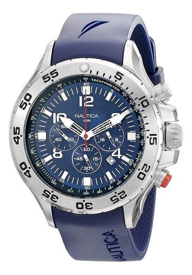 Relógio Ool9988 Nautica Mens N14555g Prata E Azul Com Caixa