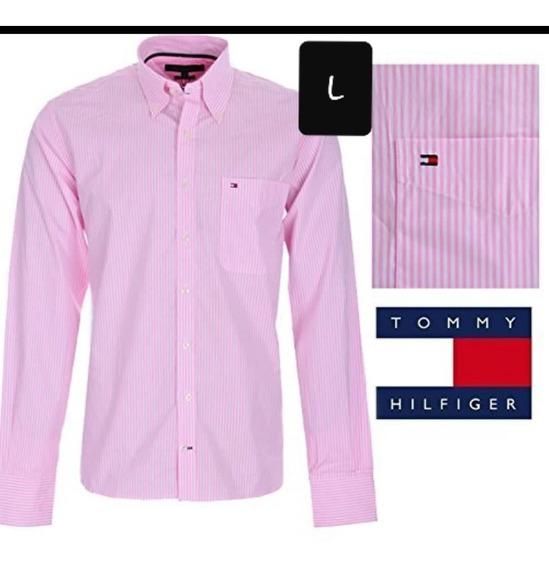 Camisa Tommy Hilfiger Hombre Large Rosado Origina Americano