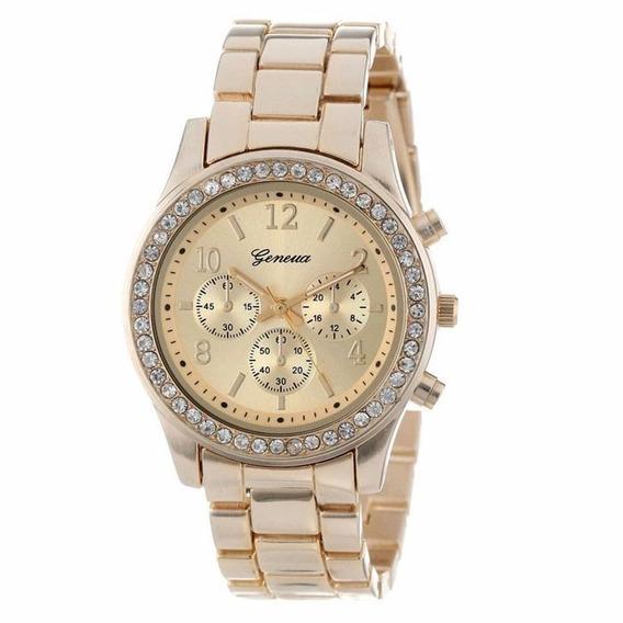 Relógio Pulso Feminino Dourado Folheado Com Strass Promoção