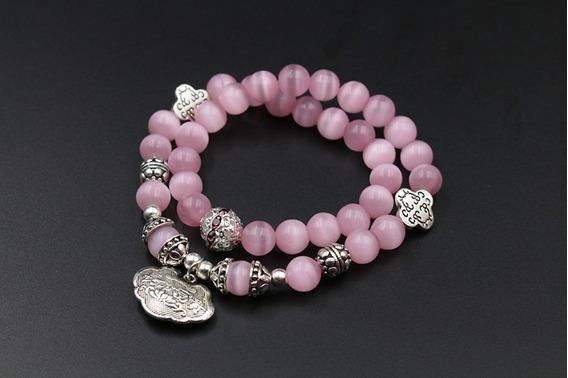 Pulseira Com Pedras Naturais Opala Rosa 2 Camadas E Detalhes Em Aço Inox