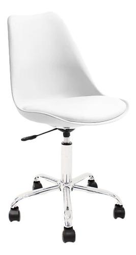 Silla de escritorio Newmo Tulip  blanca con tapizado de cuero sintético