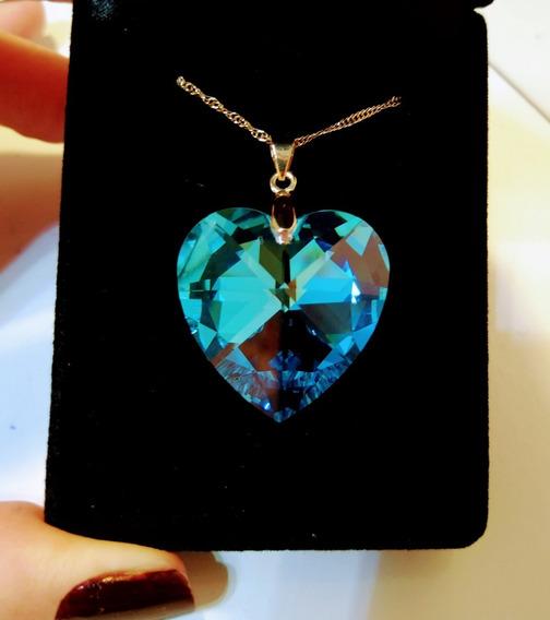 Colar Coração Cristal Swarovski 2,8cm Folh. Ouro - Namorados