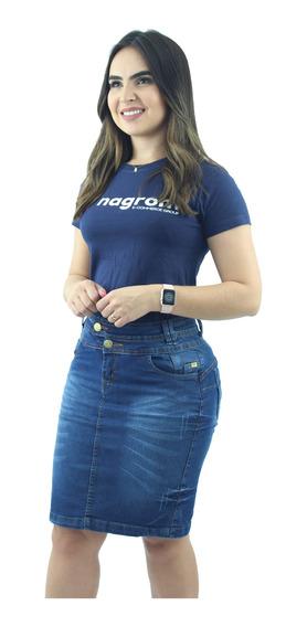 Saia Jeans Azul Executiva Moda Evangélica Anagrom Ref.117