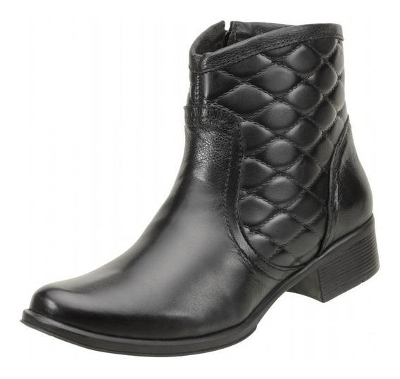 Bota Cano Curto Ankle Boot Couro Estilo Verniz Brilhos - 312