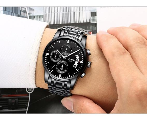 Relógio Nibosi Masculino Importado Mostrador Preto Lindo