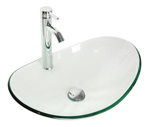 Oval Bowl + Chrome Faucet - Vidrio Templado Buque Frega-2998