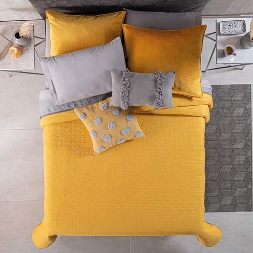 Imagen 1 de 7 de  Vianney Edredon Novo Mostaza Individual+cojines+almohadas
