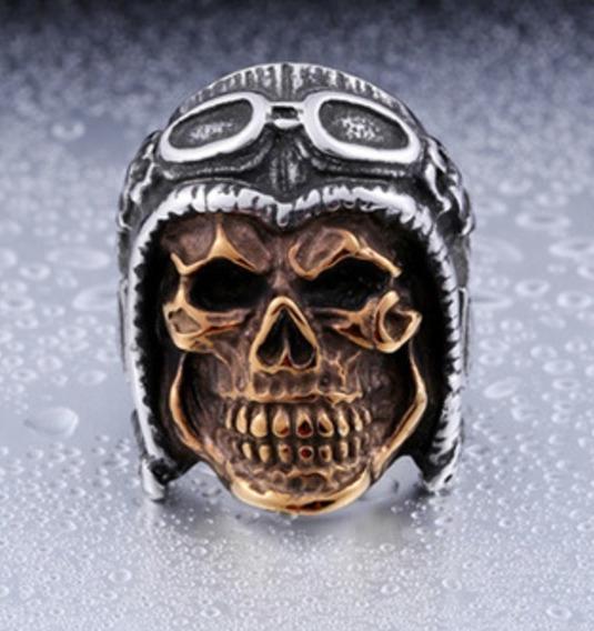Anel Caveira Dourada Gold Skull Moto Motociclista