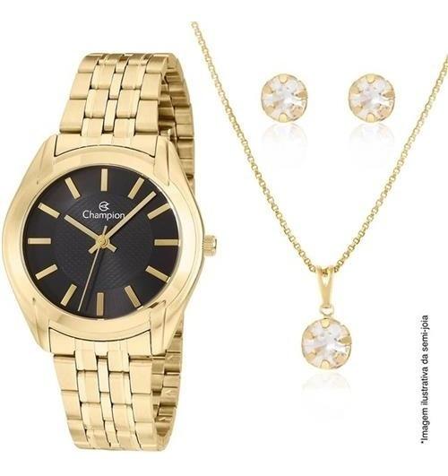 Relógio Champion Feminino Dourado Preto Cn20417u Semi Joias