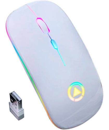 Mouse Led Wireless Sem Fio Recarregável Super Slim Branco