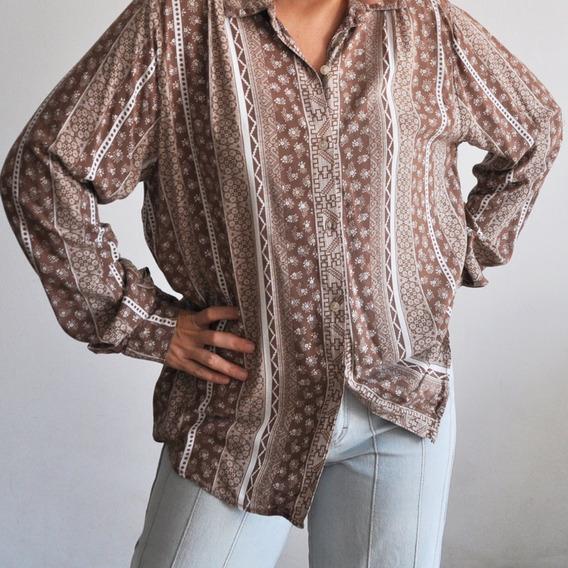 Lote Camisas Vintage Talle M L Retro Impecables Estampadas Algodon Y Otros