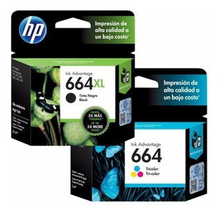 Cartucho Hp 664xl Negro + 664 Color Originales En Combo