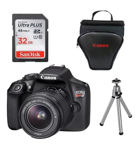Câmera Canon Rebel T6 C/ 18-55mm Iii+ 32gb+ Bolsa+ Tripé